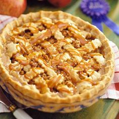 Caramel Apple Crunch Pie     This blue-ribbon pie has it all: juicy apple filling, a streusel topping, lattice crust and caramel crust. It's a winner from the annual Apple Festival pie-baking contest in Bayfield, Wisconsin.