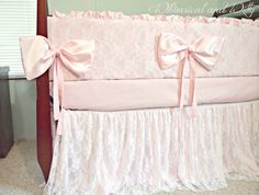 Baby Bedding Crib Bedding Lace and Pink by WHIMSICALandWITTY