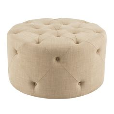 Round out an elegant ensemble in the living room or den with this chic ottoman, wrapped in diamond-tufted linen upholstery.