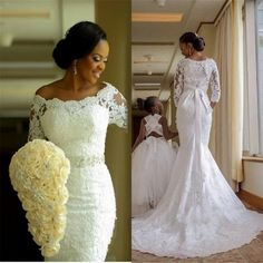 Long Sleeves Mermaid Lace Wedding Dress