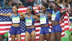 TRACK AND FIELD AT THE RIO OLYMPICS| Team's USA's Allyson Felix (USA), English Gardner, Tianna Bartoletta and Tori Bowie celebrate after winning the women's 4x100 relay. A photo gallery from USA TODAY.