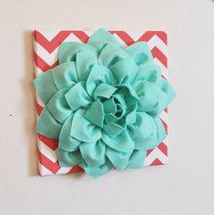 "Wall Flower -Mint Green Dahlia on Coral and White Chevron 12 x12"" Canvas Wall Art- 3D Felt Flower"