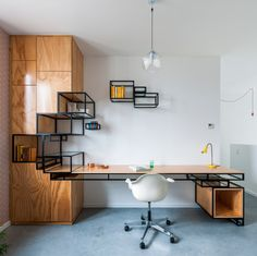 Home-Office Workspace Design by Filip Janssens ______________________ . Tag your archi friends. Workspace Design, Office Workspace, Office Interior Design, Office Interiors, Industrial Office Desk, Industrial Furniture, Modern Home Office Furniture, Workspace Inspiration, Interior Architecture