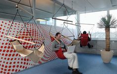 "Maximum ""whimsical"" would be flying chairs like this and bean bags.  #office designs"