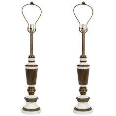 1stdibs.com   Pair of Mid Century Brass w/ White Enamel Lamps