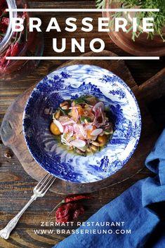 Brasserie Uno Menu: Restaurant in Zermatt: Creative cooking, fresh flavours, excellent service. Course Meal, Tasting Menu, Zermatt, Seasonal Food, Pumpkin Soup, Wine List, Homemade Ice, Roasted Cauliflower, Dinner Menu