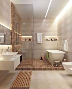 Une salle de bain avec douche et baignoire intégrée façon nordique Ein Badezimmer mit Dusche und integrierter Badewanne nach nordischer Art Modern Bathroom Design, Bathroom Interior, Bath Design, Bathroom Designs, Tile Design, Kitchen Design, Modern Bathtub, Small Bathroom, Master Bathroom