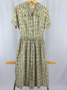 Vintage 1950s Paisley Print Dress with Original Belt by InTheRoughFashion on Etsy