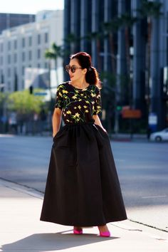 HallieSwanson Red Valentino Maxi Full Skirt, J.Crew Pink Pumps and Floral Printed Tee