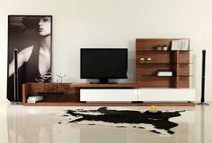 Modrest Modern 2 Drawers Glass Shelves Walnut White High Gloss TV Unit