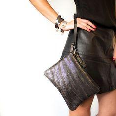 Zebra Metallic Leather Clutch Silver Black Brown Wristlet Wedding Bag