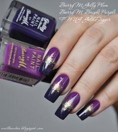 nailbamboo: BarryM Bright Purple и BarryM Gelly Plum с золотом
