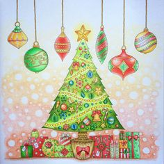 Johannas Christmas Coloring Book Tree With Ornaments And Presents