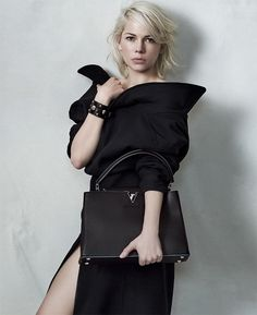 Louis Vuitton's ever stylish and timeless Capucines leather handbag in the new campaign featuring Michelle Williams