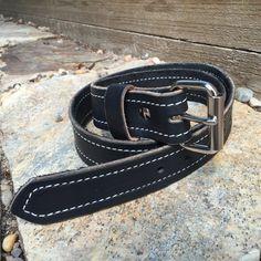 Black Latigo Belt with Decorative Stitching