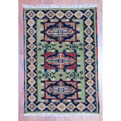 Herat Oriental Indo Hand-knotted Traditional Kazak Light / Navy Rug