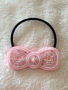 ビーズ刺繍りぼんヘアゴム(ピンク)                                                                                                                                                      もっと見る