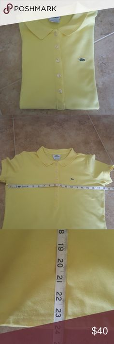 Women's Lacoste polos Genuine Lacoste polo shirts size 44... Measurements shown for both shirts as they fit like a woman's small-medium. First shirt is light lemon yellow and second one available is lavender. Price is for EACH shirt separately. Lacoste Tops