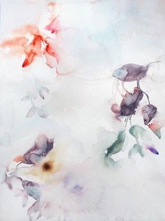 Abstract Watercolor Flora : Fragments and Moons by Marta Spendowska, VERYMARTA, Polish-American artist, illustrator and textile designer.