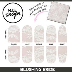 Nail art to match your wedding lace?! Photos of lace make gorgeous nail art for the big day. This prototype reward is great for anyone planning a wedding. Get this for the bride + 4 bridesmaids when backing @NailSnaps on Kickstarter at the BRIDAL PARTY PACK level.