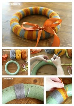 Ahhh...the *smart* way to make a striped yarn wreath! Ya know, instead of winging it, like I usually would. :) {Lemonade Makin' Mama}