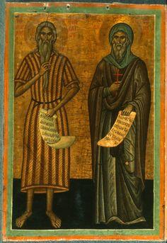 Paul of Thebes and St. Orthodox Catholic, Paint Icon, Eritrean, Byzantine Icons, Orthodox Icons, Illuminated Manuscript, Religious Art, Saints, Spirituality