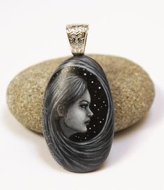 Fantasy painting as art pendant: original painting of a long hair girl and starry sky as art jewelry, hand painted on stone. Unique style!