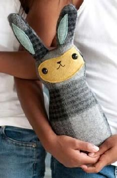 Use an old blanket or flannel shirt to create a cozy, cuddly bunny with this free pattern