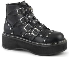 """Demonia Emily 315  Size: 6-12 2"""" Platform Lace-Up Front/ Buckle Strap Ankle Boot W/ O-Ring on Top Strap & Heart Shaped Stud Detail, Inside Zip Closure"""