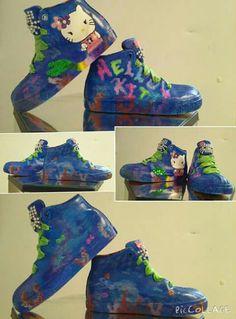 62e7b7a5cc903 Custom Hand Painted Hello Kitty Mermaid Girls Sneaker.