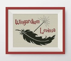 Wingardium Leviosa cross stitch pattern, PDF counted cross stitch pattern, Harry Potter Hogwarts, P131