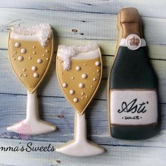 Champagne cookies Might be cute as a take home gift for the guests or you could do a mini bottle of champagne for each person (depending on price) wrapped up in festive ribbon.