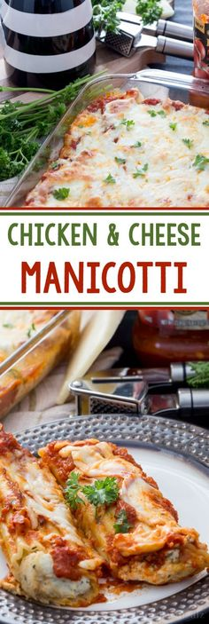 Chicken and cheese stuffed manicotti with a delicious marinara, fresh herbs, and so much flavor! Perfect family meal.
