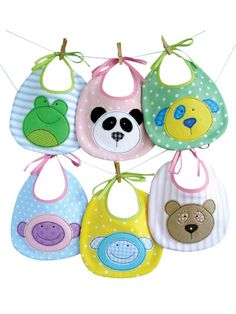 Baby Animal Bibs Sewing Pattern Download from e-PatternsCentral.com -- These bibs are very easy to make! Instructions are included to make one style of bib that may be embellished with 6 different baby animal appliques including a teddy bear, panda, dog, monkey, sheep and frog.