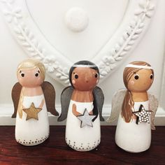 Original peg doll creations by Gabe & Penny by GabeAndPenny Nativity Peg Doll, Wood Peg Dolls, Clothespin Dolls, Christmas Angel Crafts, Christmas Projects, Christmas Crafts, Wooden Pegs, Wooden Stars, Girls Night Crafts