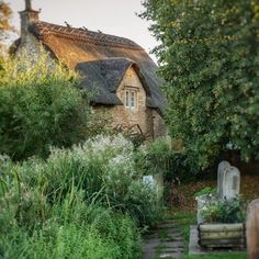 The path to Agatha Raisin's cottage in #Biddestone #wiltshire.  #agatharaisin #tvseries #cottage #englishcottage #thatchedroof #path #bench #england #british #vintage #charming #cotwolds #uk #gb