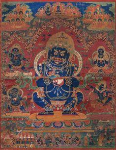 Mahakala as Panjaranatha, with Related Deities, Tibetan, 19th century, distemper on cotton. Museum of Fine Arts, Boston.