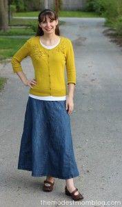 Rainbow Denim Skirt, White Cami, Yellow Sweater and Flexi Clip.