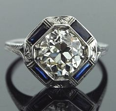 Art Deco 18K Diamond & Sapphire Ring  Center Stone J/VS2 2cts $35,000