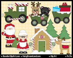 Christmas Village Digital Clip Art - Commercial Use Graphic Image - Instant Download, Santa, Mrs Claus, Reindeer, Gingerbread House, Train