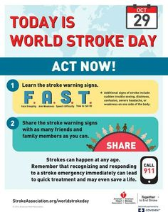 "World Stroke Day - ""Face the Facts: Stroke is Treatable"" - October 29, 2016 