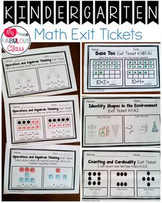 Kindergarten Math Exit Tickets for all Common Core Standards
