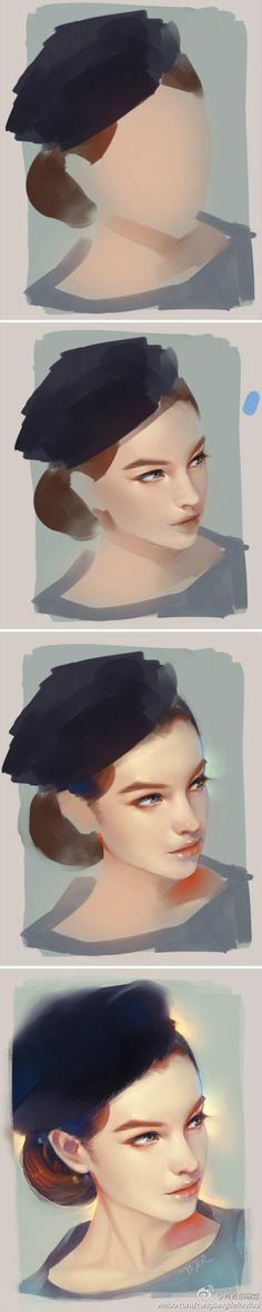 I like how this gives a step-by-step illustration of start to finish of the painting. It has a unique style and looks like a pastel chalk portrait. Very smooth and soft looking.