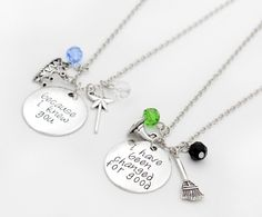 Wicked The Musical Elphaba and Glinda Inspired Necklace Set