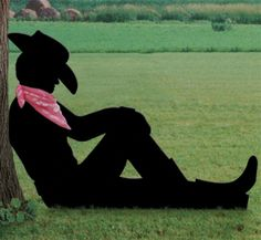 Cowboy Silhouette Patterns | Lazy Cowboy Shadow Woodcraft Pattern