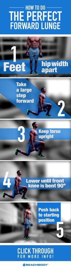 Ah, the forward lunge. You might avoid it because of the deep burn it produces in your quads, yet there are few better exercises for sculpting lean, powerful legs. Here's how to do it properly. // fitness // tips // how to do a forward lunge // leg workouts // lower body workouts // Beachbody // BeachbodyBlog.com