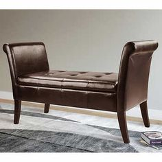 Asher Espresso Brown Bonded Leather Storage Bench