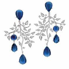 Cabochon Sapphire & Diamond Earrings  by Brumani