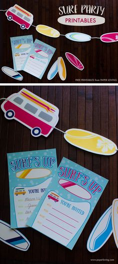 Surf party printable invitations, surf boards, and vans, surfboard banner | www.paperloving.com