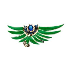 Sabine G Harlequin Green Ear Cuff 18K Yellow Gold Black Diamond and Sapphire